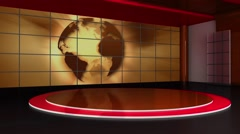 Stock Video Footage of News TV Studio Set 156-Virtual Green Screen Background Loop