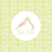 Stock Illustration of Dog Downwards Pose Yoga Studio Design Card