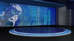 News TV Studio Set 155-Virtual Green Screen Background Loop - stock footage