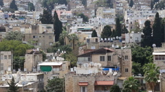 Panoramic view over less undeveloped buildings in Haifa Stock Footage