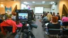 The people group of women sit at the lecture. Time lapse - stock footage