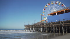 Low angle view of the Santa Monica Pier. Stock Footage