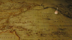 Cartoon sailing ship on vintage world map background 4K animation - stock footage