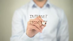 Internet Security , writing on transparent screen - stock footage