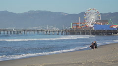 Family near the Santa Monica Pier. Stock Footage