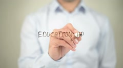 Education App , writing on transparent screen - stock footage