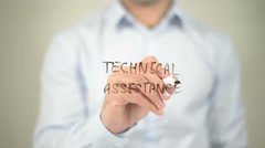 Technical Assistance, writing on transparent screen Stock Footage
