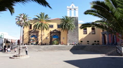 Yellow building is a Monastery of San Francisco in Garachico town. Tenerife Stock Footage
