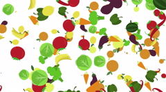 Cartoon healthy food background. fruits and vegetables flying Stock Footage