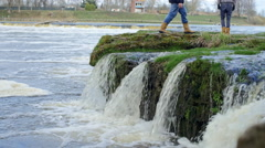 Waterfall during spring floods Stock Footage