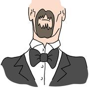 Man wearing a bow tie - stock illustration