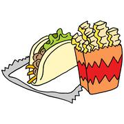 Curly fries street taco food Stock Illustration