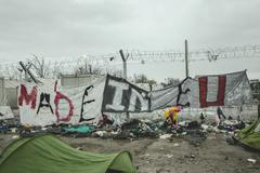 Transparent on the border fence Made in EU refugee camp in Idomeni border with Kuvituskuvat