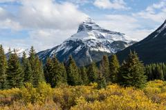 Stock Photo of Mount Pilot with snow Bow Valley Parkway Banff National Park Canadian Rockies