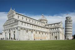 Leaning Tower of Pisa with Cathedral Santa Maria Assunta Piazza del Duomo Stock Photos