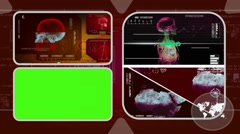 Skull - Analysis in software - examination - background red 03 - stock footage