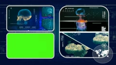 Skull - Analysis in software - examination - background blue 01 - stock footage