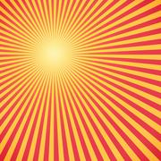 Red and yellow sunburst circle and background - stock illustration