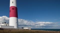 Lighthouse portland bill coast sea england Stock Footage