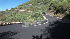 Car drives TF-436 road. Masca road. Tenerife. Spain Stock Footage
