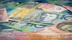 Australian Dollars Banknotes Rotating Closeup - stock footage