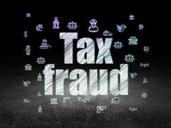Law concept: Tax Fraud in grunge dark room - stock illustration