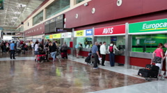 Offices of car rental companies are at Tenerife-South International airport TFS Stock Footage