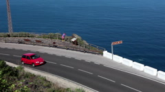 Hairpin route TF-421 at the Garachico town and Roque de Garachico. Tenerife Stock Footage