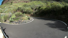 Sharp turns and stunning narrow parts are on the road to Masca, Tenerife Stock Footage