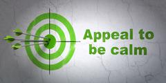 Political concept: target and Appeal To Be Calm on wall background Stock Illustration