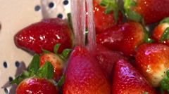 Ripe Fresh Strawberries Being Washed In Kitchen Sink Stock Footage