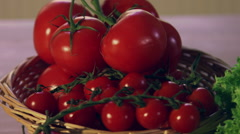 Arrangement Of Fresh Salads and Cheese On kitchen Counter - stock footage