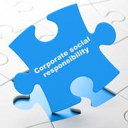 Business concept: Corporate Social Responsibility on puzzle background Stock Illustration