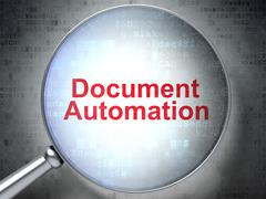 Business concept: Document Automation with optical glass Stock Illustration