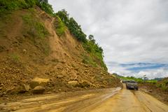 Portoviejo, Ecuador - April, 18, 2016: Landslide blocks road to the coast after Stock Photos