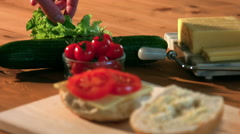 Making A Fresh Ploughman's Roll In Kitchen Stock Footage