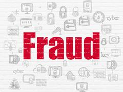Protection concept: Fraud on wall background - stock illustration