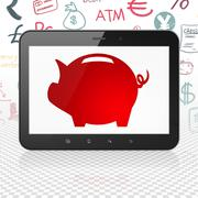 Banking concept: Tablet Computer with Money Box on display Stock Illustration
