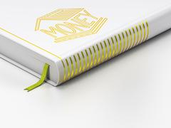 Banking concept: closed book, Money Box on white background - stock illustration
