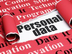 Information concept: black text Personal Data under the piece of  torn paper - stock illustration