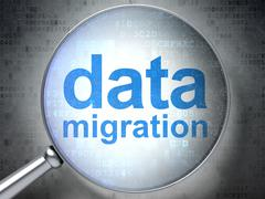 Information concept: Data Migration with optical glass Stock Illustration