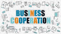 Business Cooperation Concept with Doodle Design Icons Stock Illustration