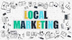 Local Marketing Concept. Multicolor on White Brickwall - stock illustration