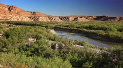 Horseback in Rio Grande River at Big Bend National Park Stock Footage