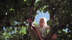 Girl on tree Stock Footage