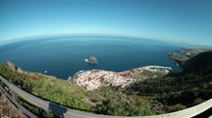 People stand on the Mirador (viepoint). Garachico, Tenerife, Canary  Stock Footage