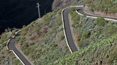 Hairpins of mountain asphalt road TF-436. Tenerife, Canary Islands, Spain Stock Footage
