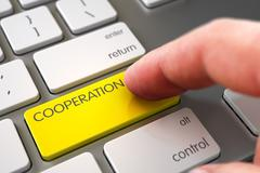 Hand Touching Cooperation Button - stock illustration