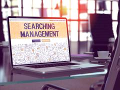 Searching Management Concept on Laptop Screen - stock illustration