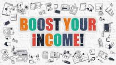Boost Your Income in Multicolor. Doodle Design - stock illustration